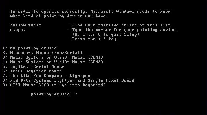 Configurazione del mouse nel Setup di Windows 1