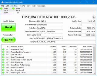 Schermata principale di CrystalDiskInfo