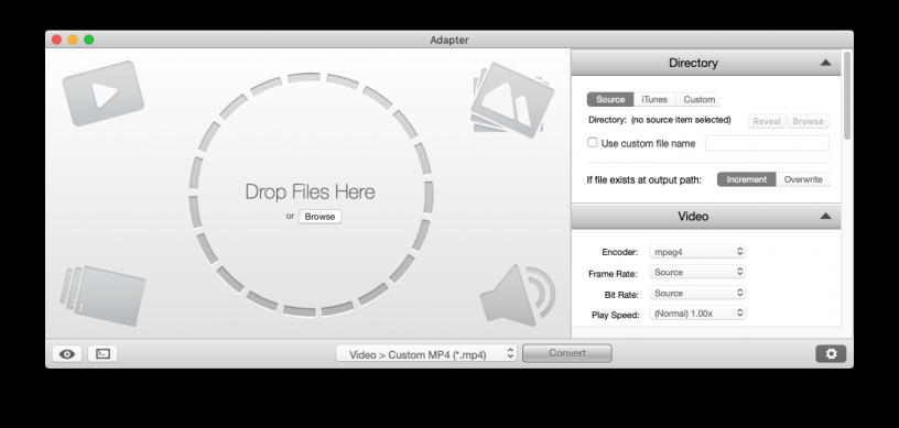 Schermata principale di Adapter